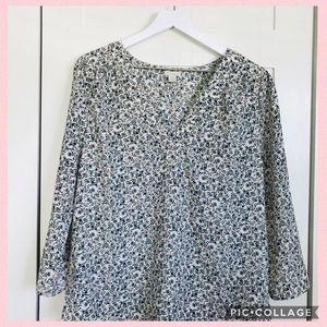 Floral print 3/4 sleeve blouse